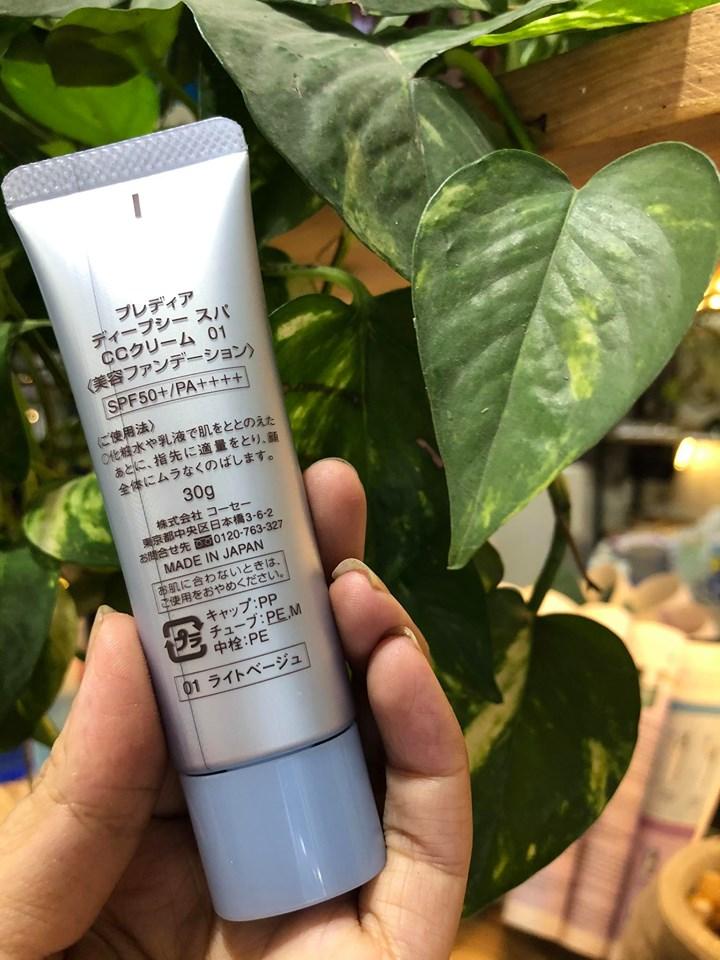 Mặt sau kem trang điểm đa năng Kose Prédia Deep Sea Spa CC Cream